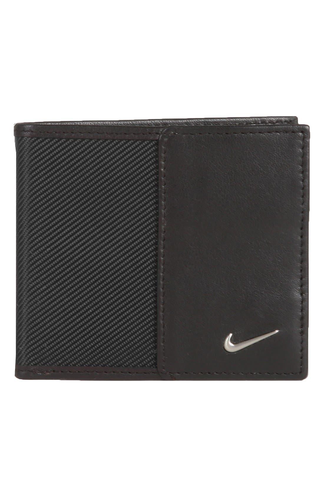 Leather Wallet,                             Main thumbnail 1, color,                             Black