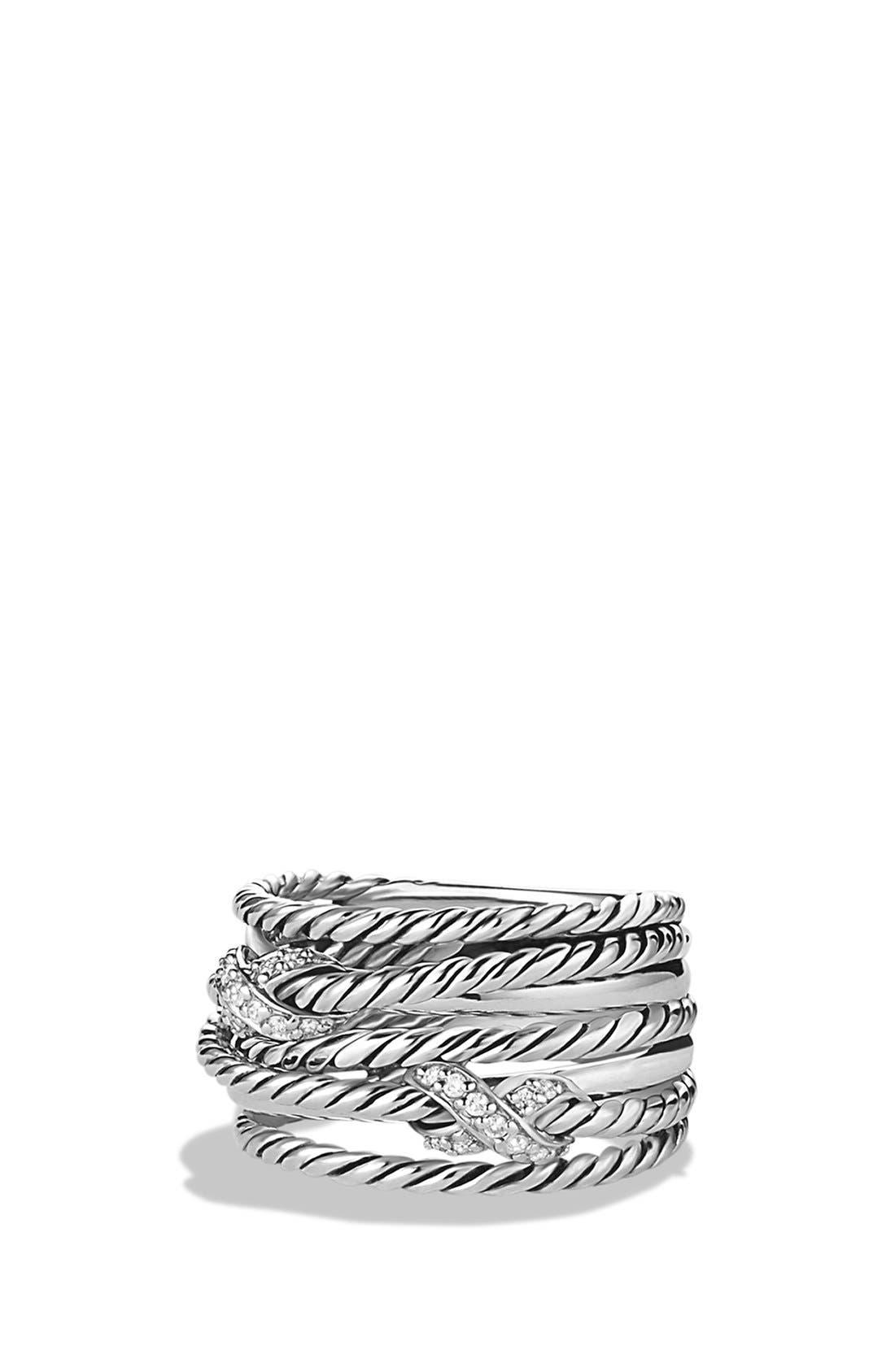 David Yurman Double 'X Crossover' Ring with Diamonds