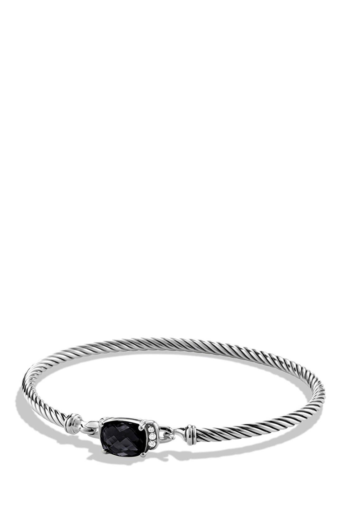 'Petite Wheaton' Bracelet with Semiprecious Stone & Diamonds,                         Main,                         color, Black Onyx