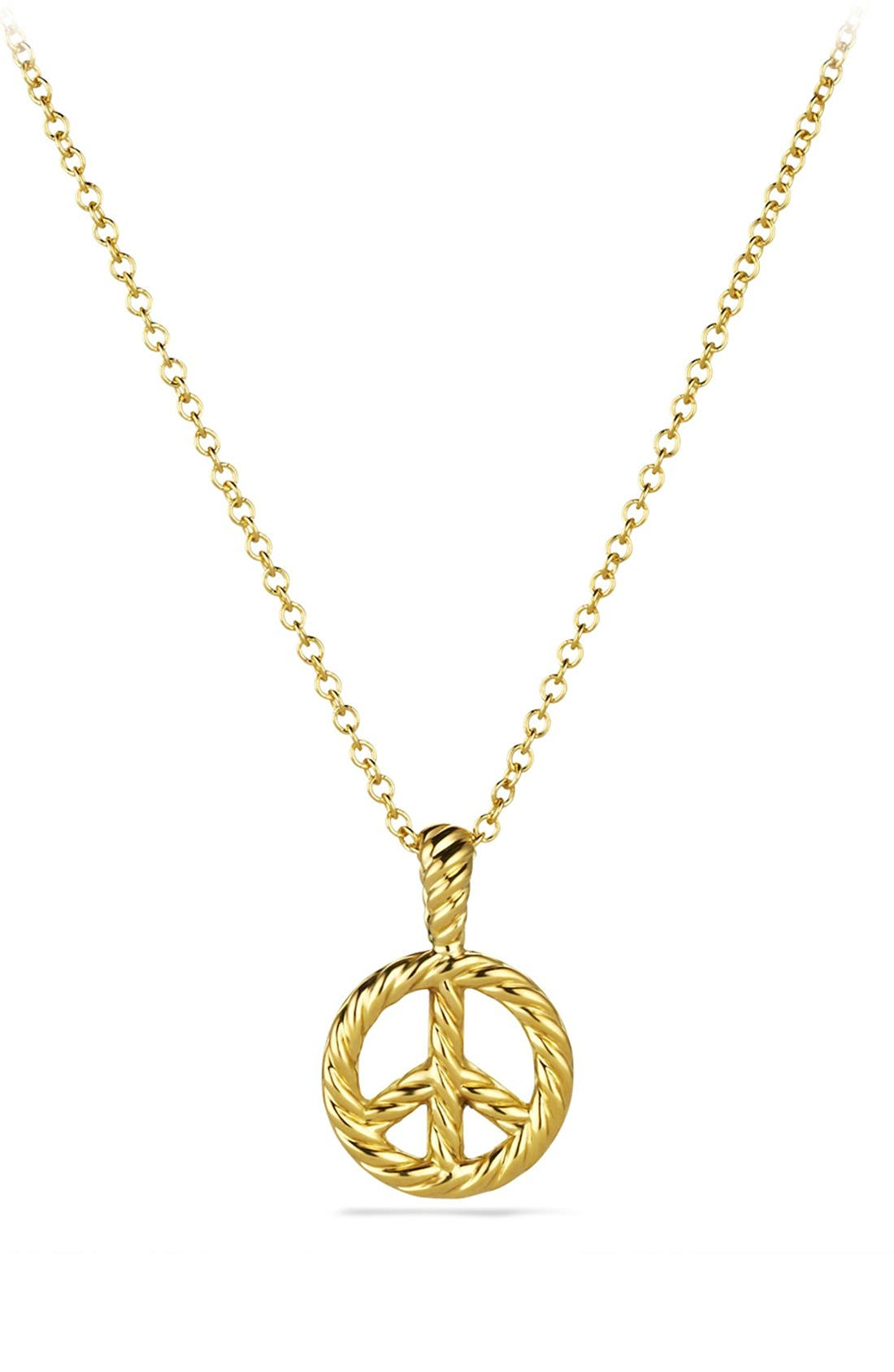 Alternate Image 2  - David Yurman 'Cable Collectibles' Peace Sign Pendant with Diamonds on Chain