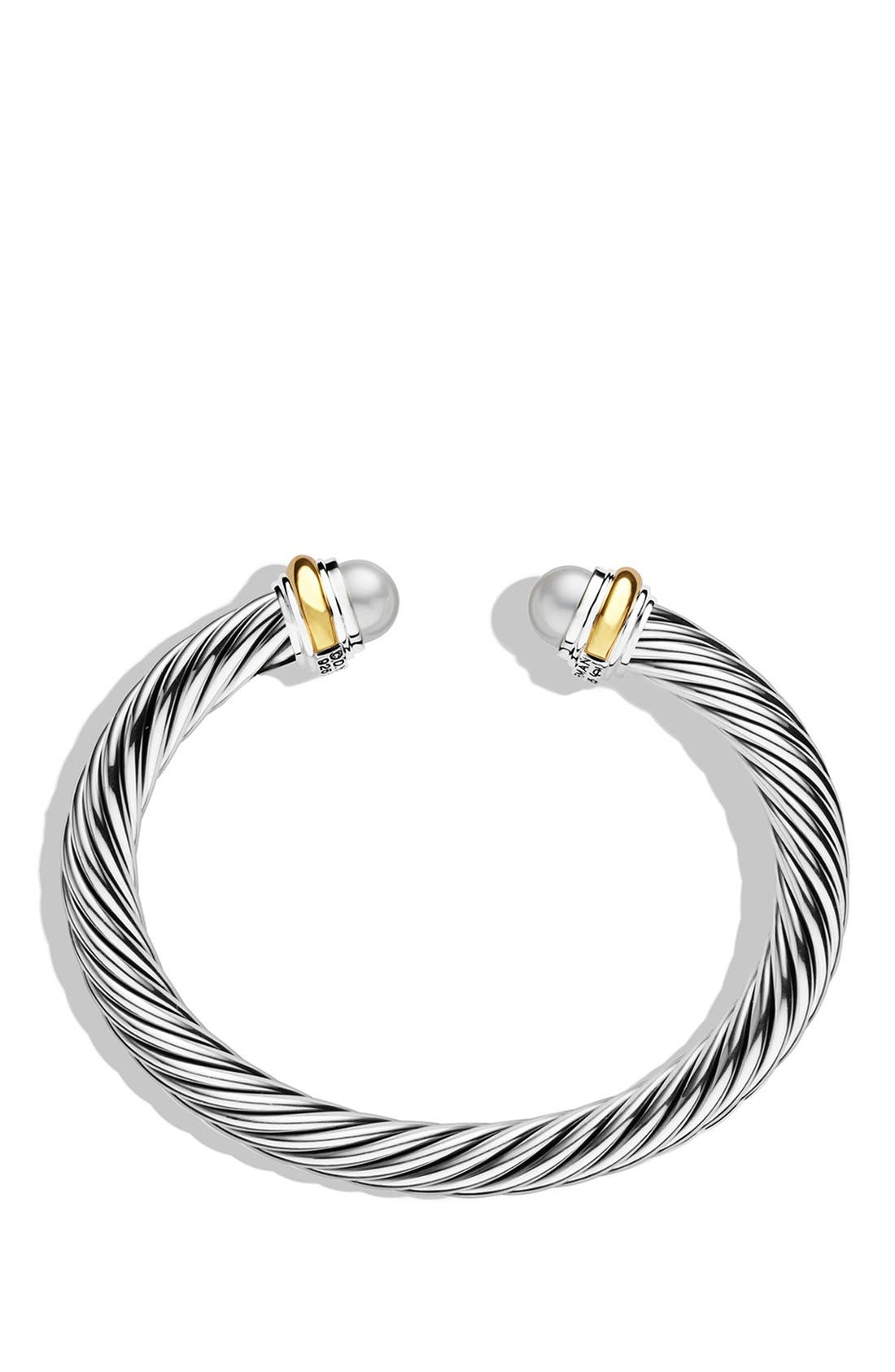 Cable Classics Bracelet with Semiprecious Stones & 14K Gold, 7mm,                             Alternate thumbnail 2, color,                             Pearl