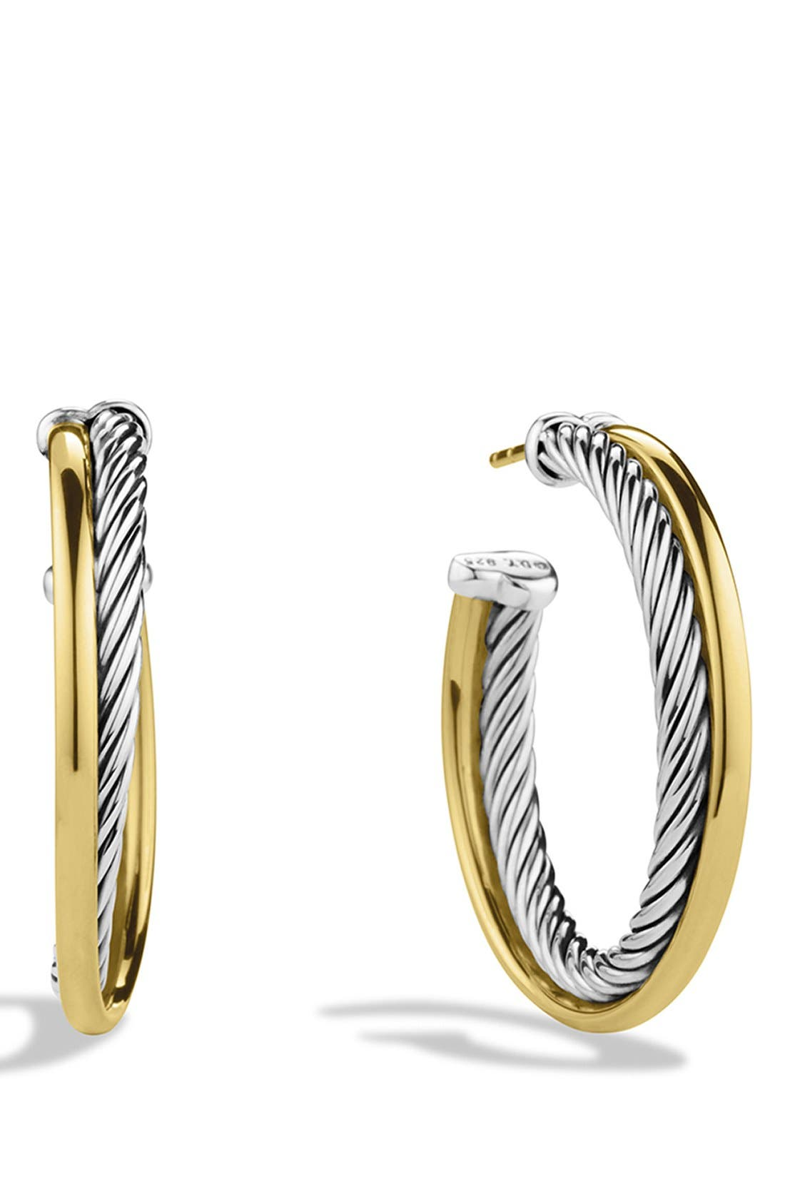 David Yurman 'Crossover' Medium Hoop Earrings with Gold