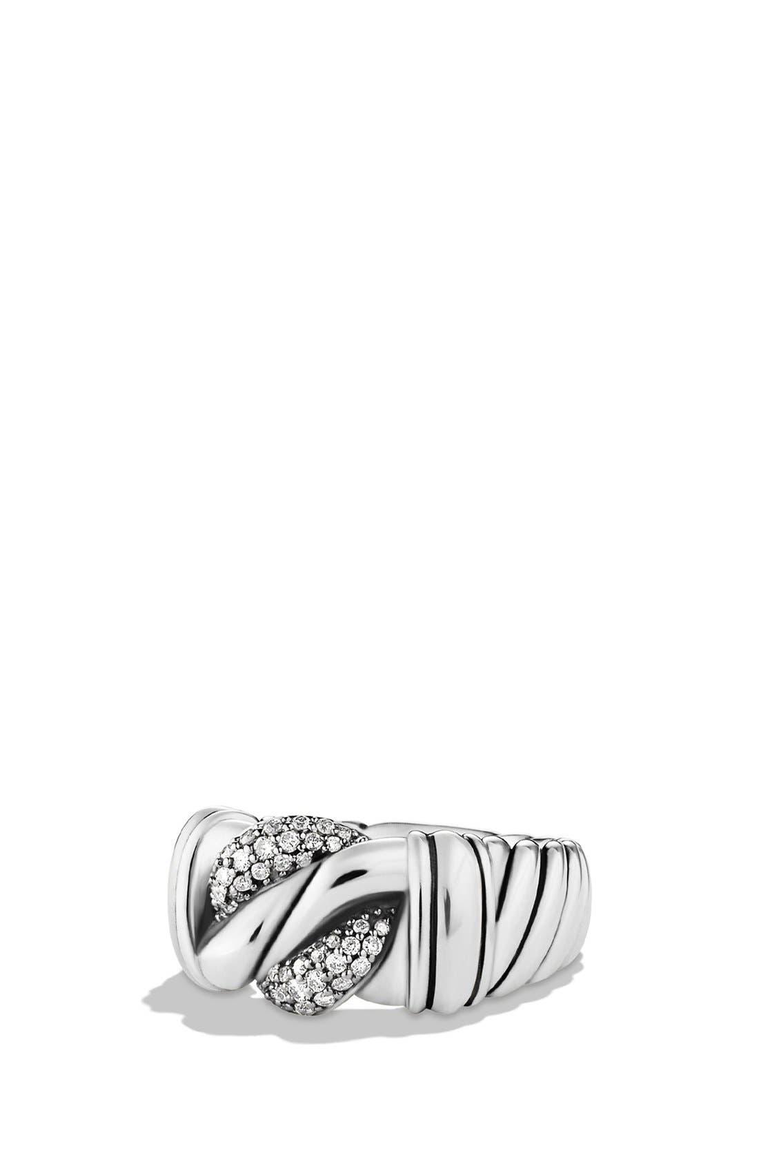 Alternate Image 1 Selected - David Yurman 'Metro' Curb Wide Ring with Diamonds