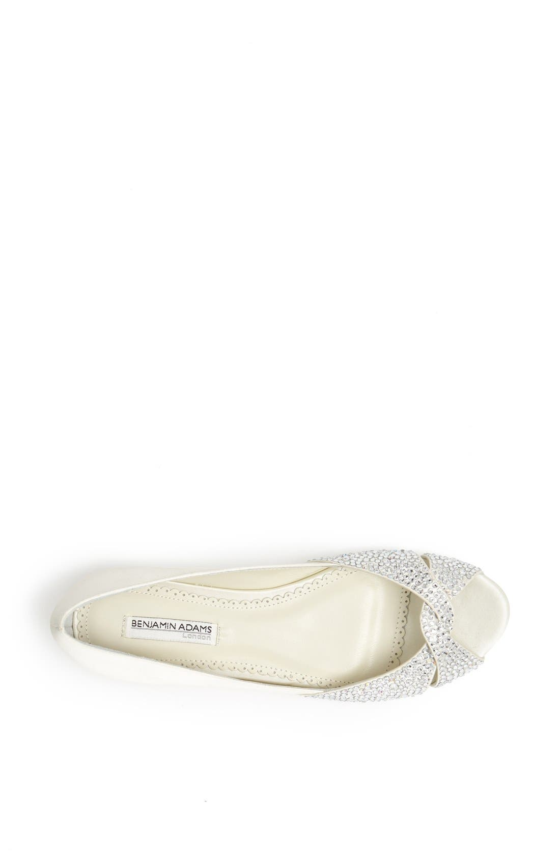 'Andie' Crystal Embellished Peep Toe Flat,                             Alternate thumbnail 3, color,                             Ivory