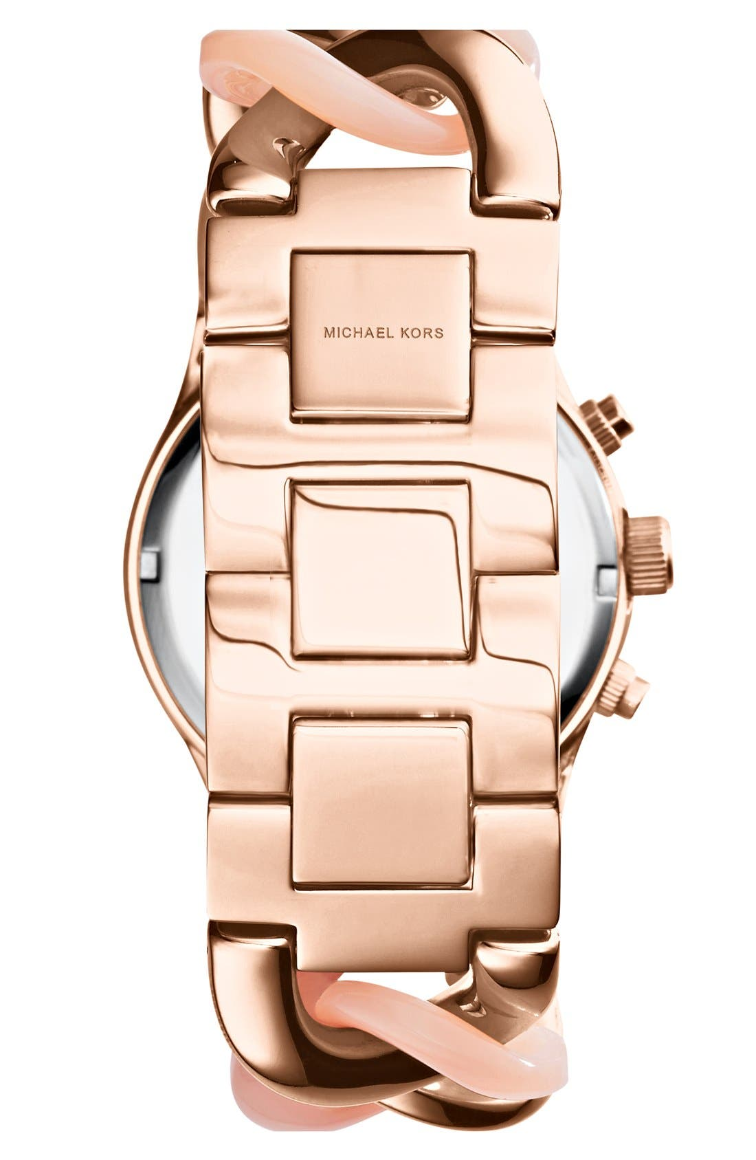 Alternate Image 2  - Michael Kors 'Runway' Pavé Dial Chronograph Link Bracelet Watch, 38mm