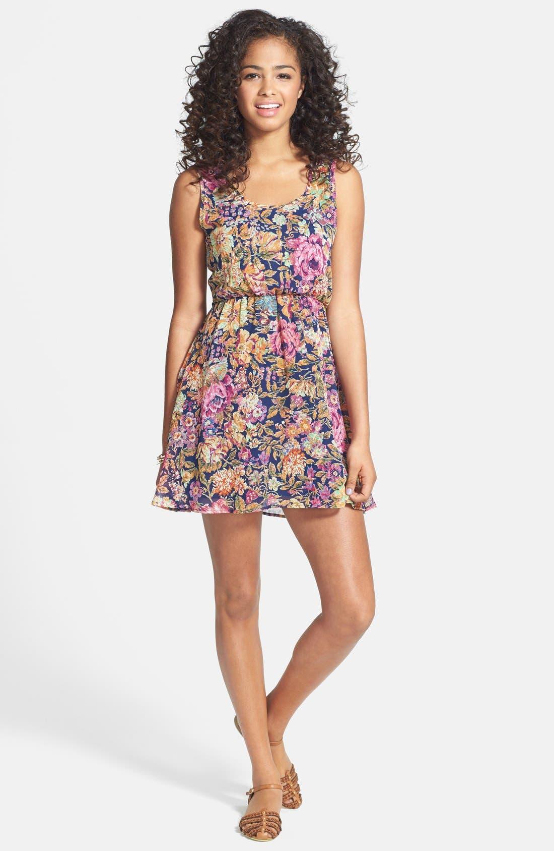 Main Image - dee elle Print Tie Back Chiffon Dress (Juniors)