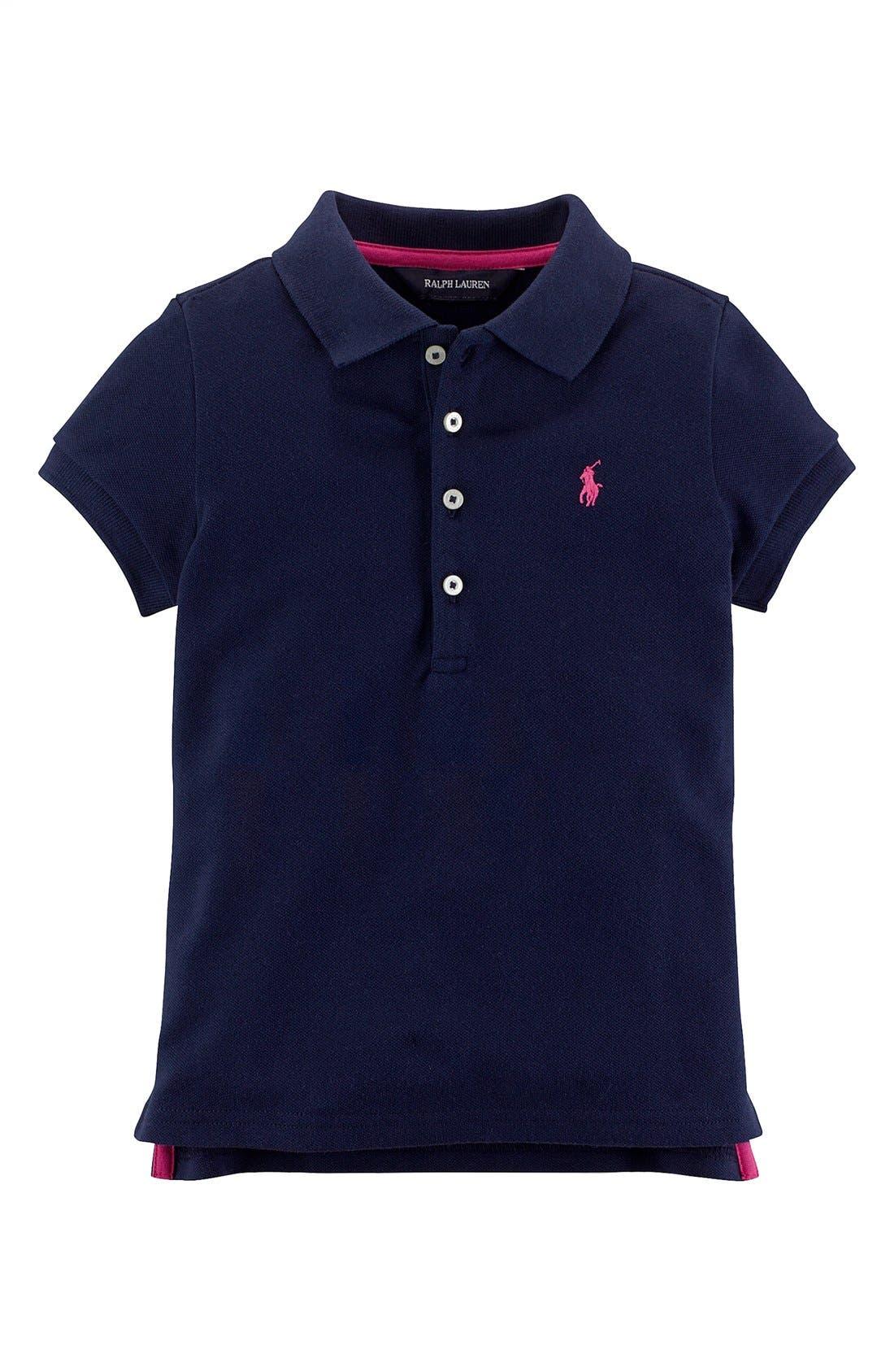 Alternate Image 1 Selected - Ralph Lauren Classic Polo Shirt (Toddler Girls)