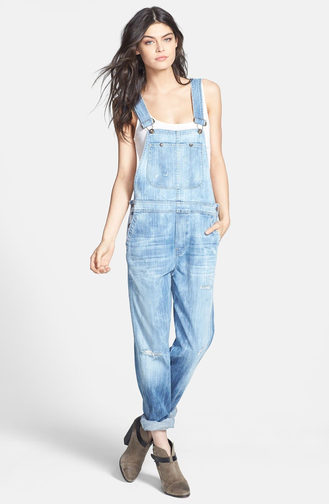 'Quincey' Distressed Denim Overalls,                             Main thumbnail 1, color,                             Sun Bleach