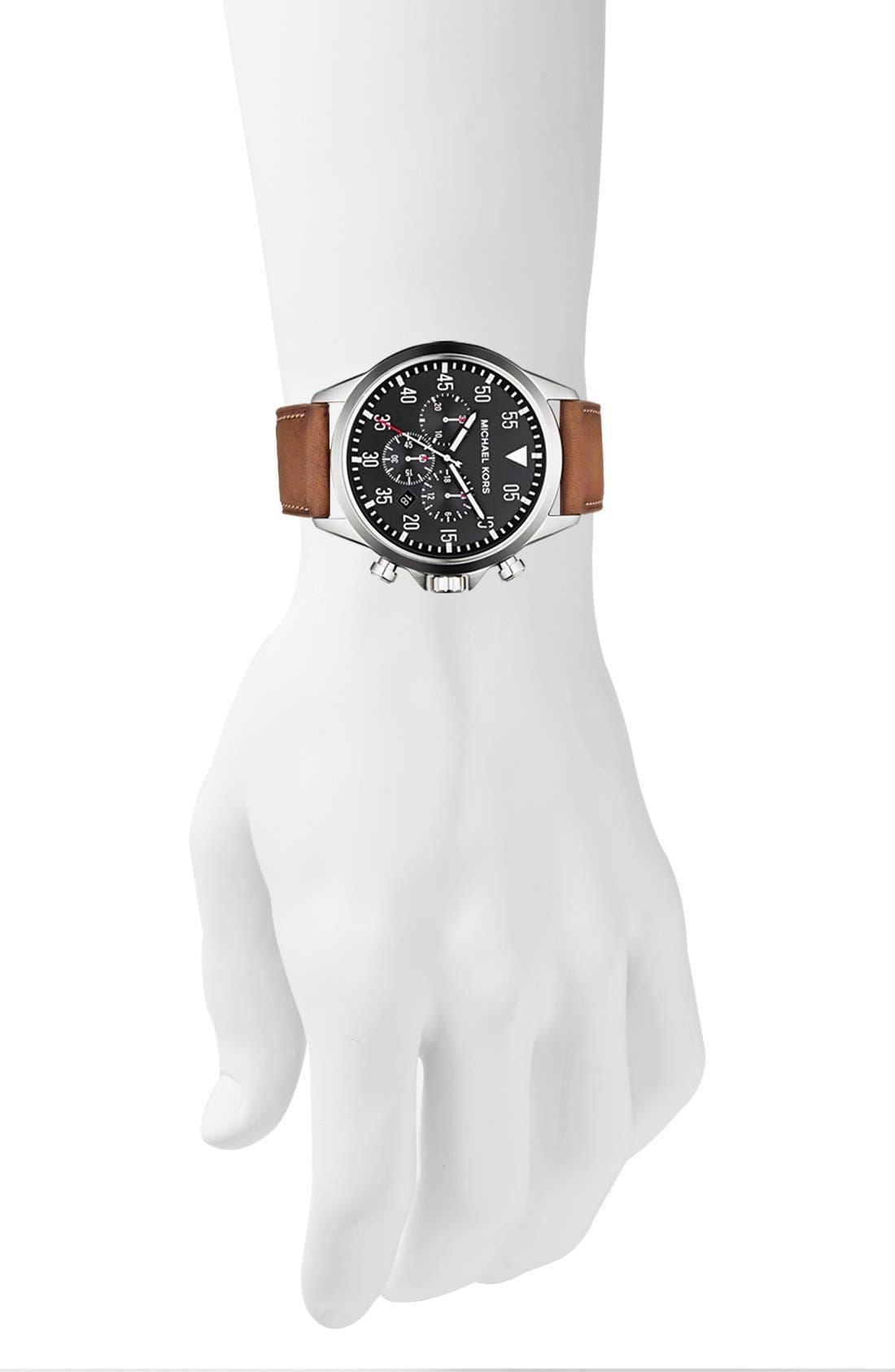 Alternate Image 4  - Michael Kors 'Gage' Chronograph Leather Strap Watch, 45mm