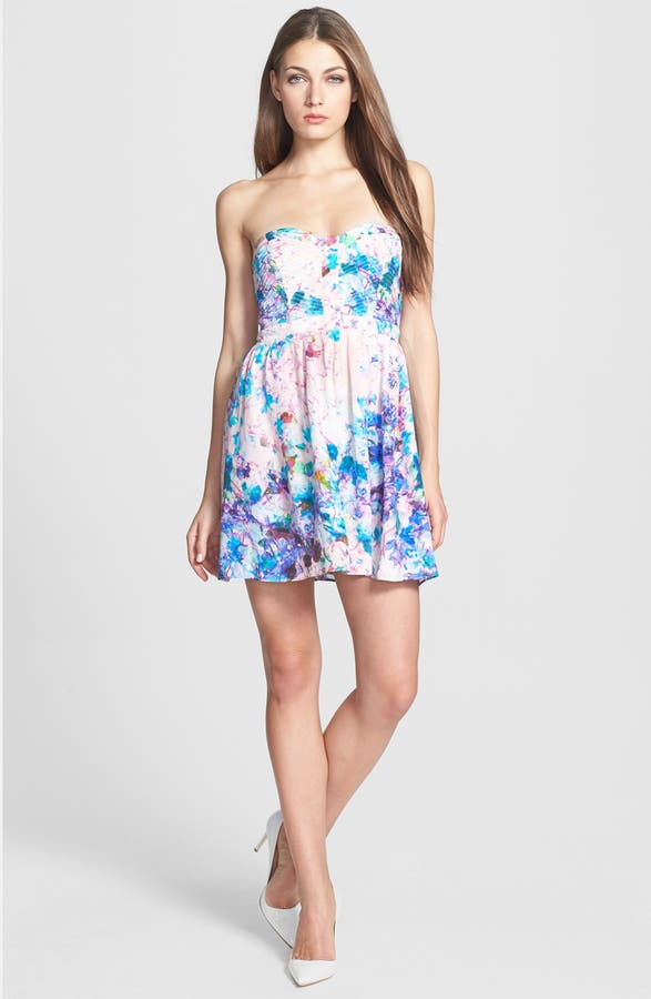 Main Image Parker Lily Print Silk Fit Flare Dress