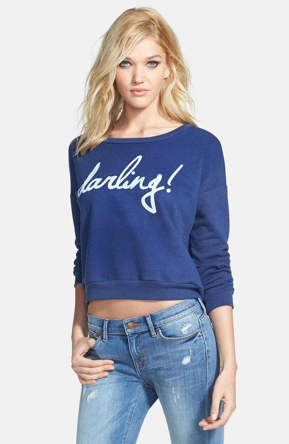 Main Image - Madison & Berkeley 'Darling' Boatneck Knit Sweatshirt