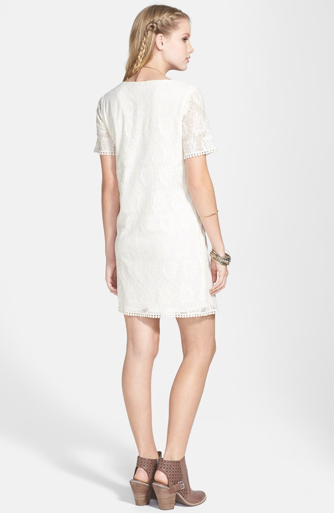 Alternate Image 2  - Everly Print Lace Shift Dress (Juniors) (Online Only)