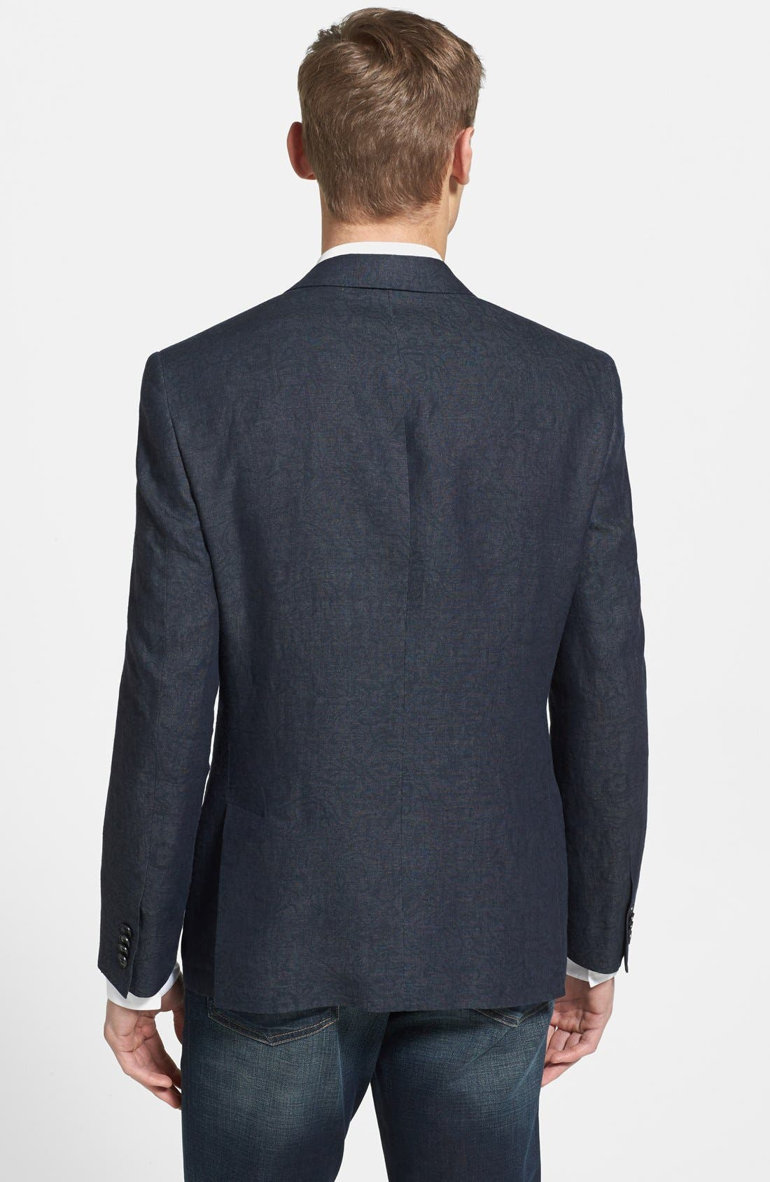 Alternate Image 2  - John Varvatos Star USA Trim Fit Charcoal Linen Blazer