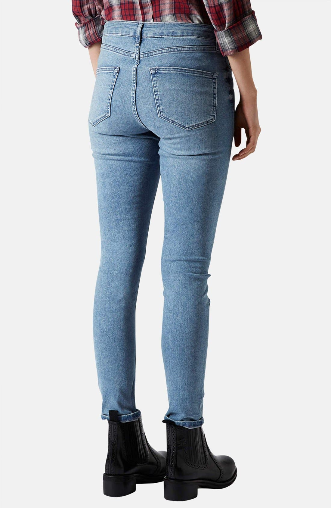 Alternate Image 2  - Topshop Moto 'Jamie' High Rise Skinny Jeans (Mid Stone)