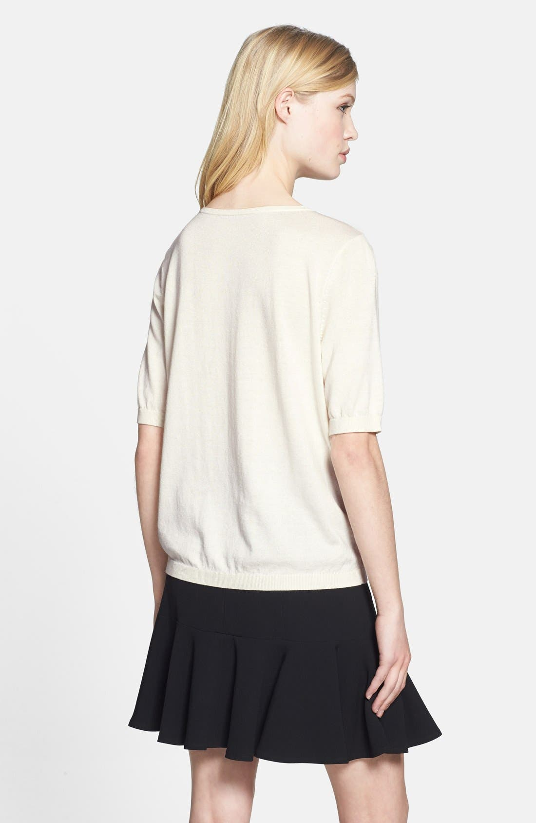 Alternate Image 2  - Chelsea28 Woven Front Knit Sweater