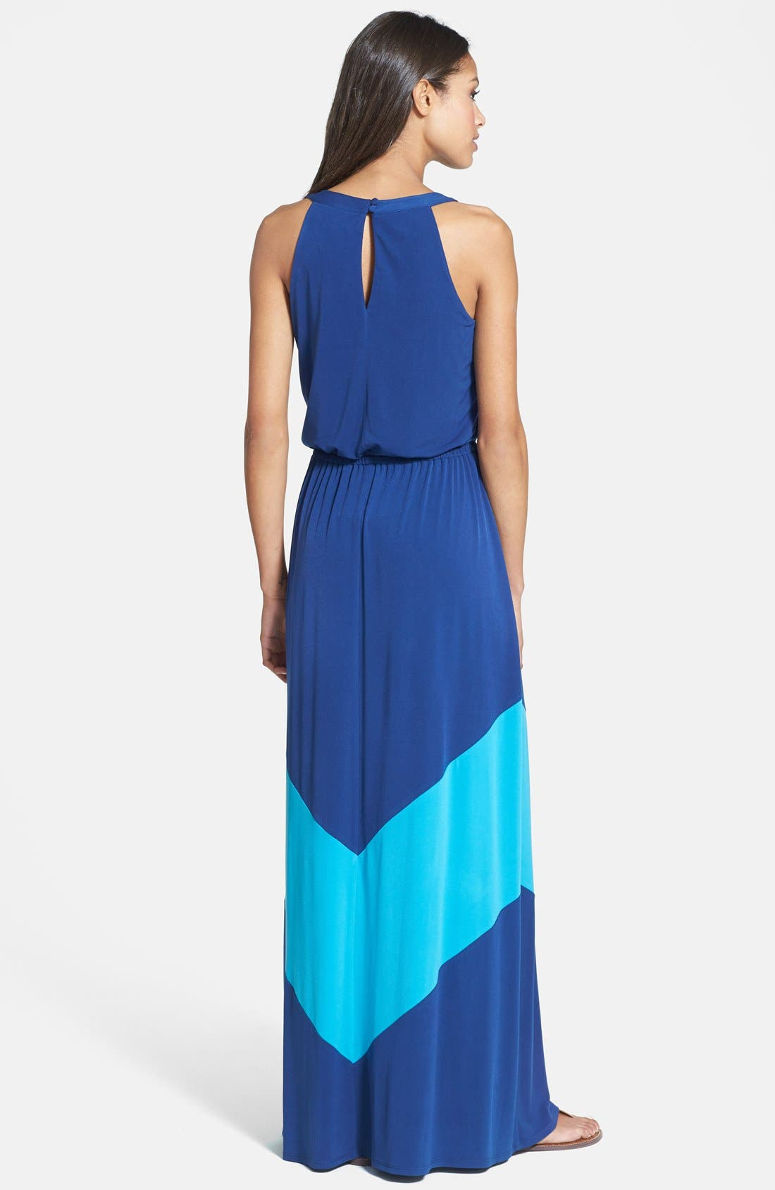 Alternate Image 2  - Vince Camuto Colorblock Stretch Jersey Maxi Dress
