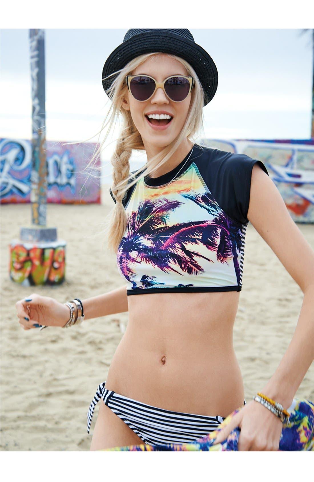 Alternate Image 6  - Roxy 'Sunset Stripes' Side Tie Low-Rise Bikini Bottoms