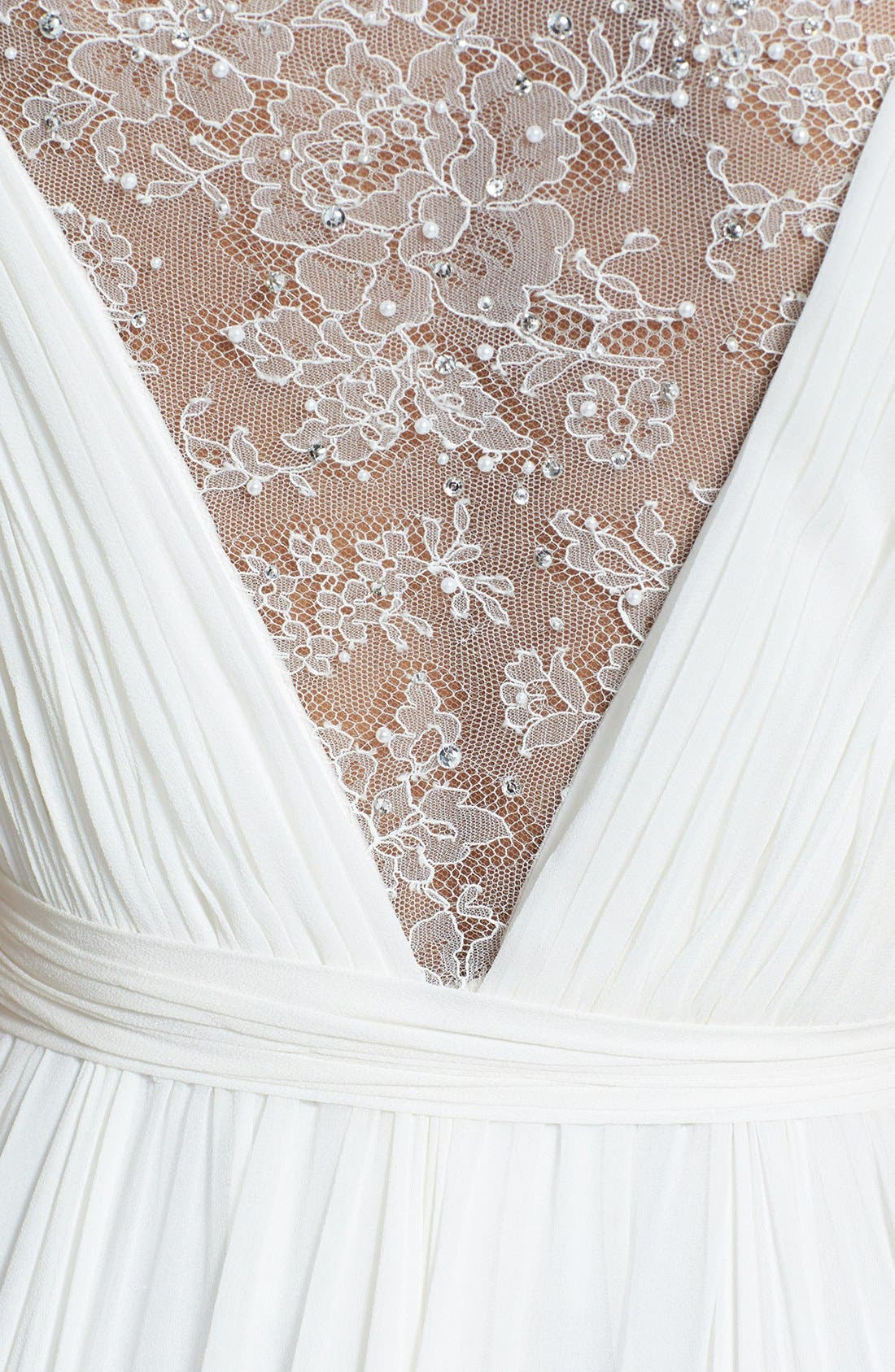 Alternate Image 3  - Roses by Reem Acra 'Wisteria' Lace Inset Draped Silk Georgette Dress (In Stores Only)