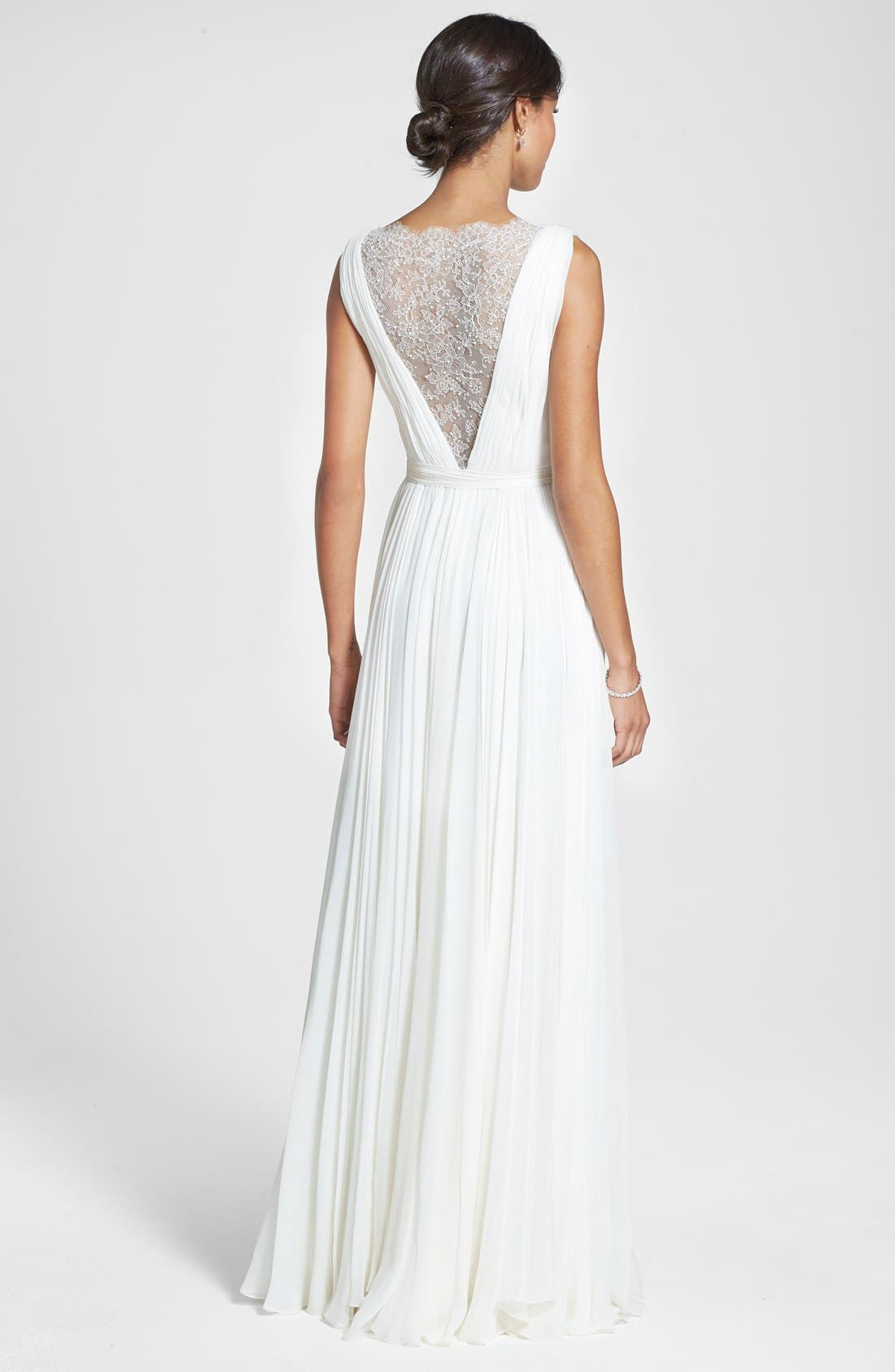 Alternate Image 2  - Roses by Reem Acra 'Wisteria' Lace Inset Draped Silk Georgette Dress (In Stores Only)