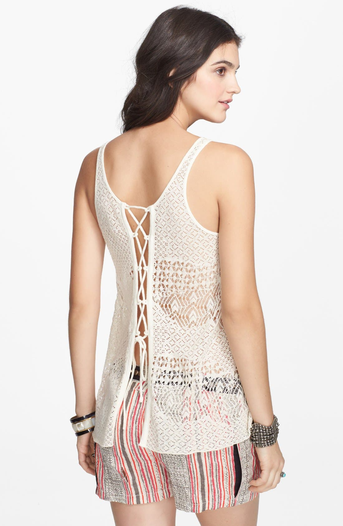 Alternate Image 2  - Free People 'Lolas' Lace-Up Mixed Knit Tank