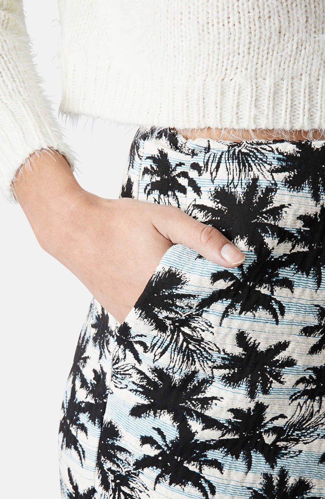 Alternate Image 4  - Topshop Palm Jacquard Skort