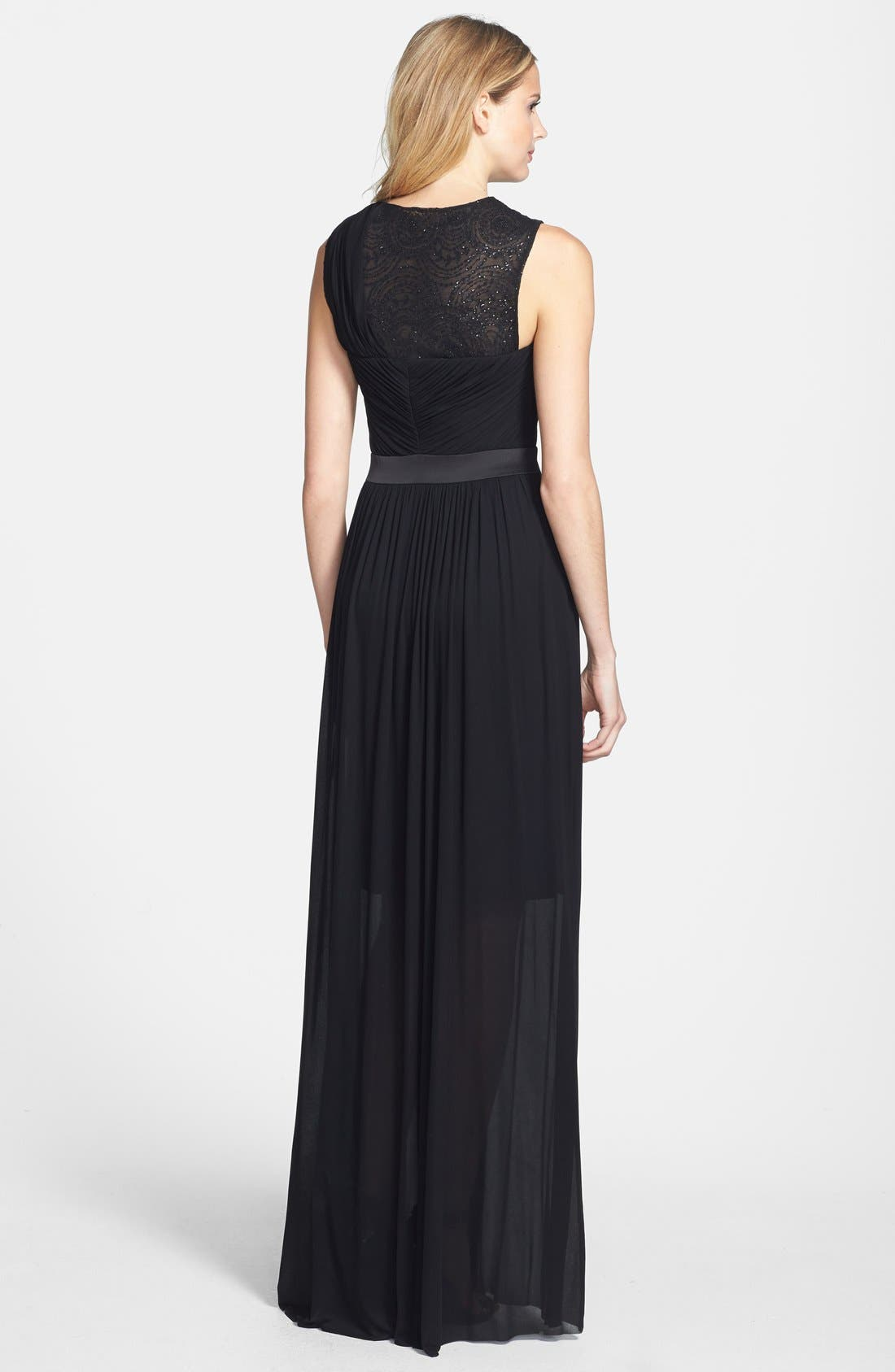 Alternate Image 2  - Vera Wang Embellished Yoke Ruched Jersey Gown