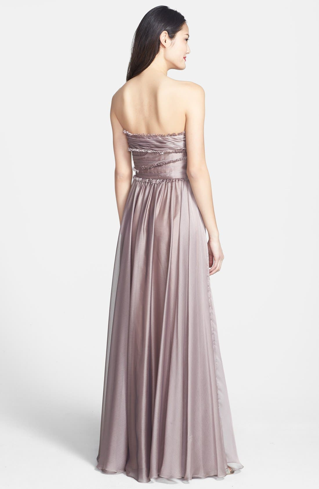Alternate Image 2  - ML Monique Lhuillier Bridesmaids Strapless Chiffon Gown (Nordstrom Exclusive)
