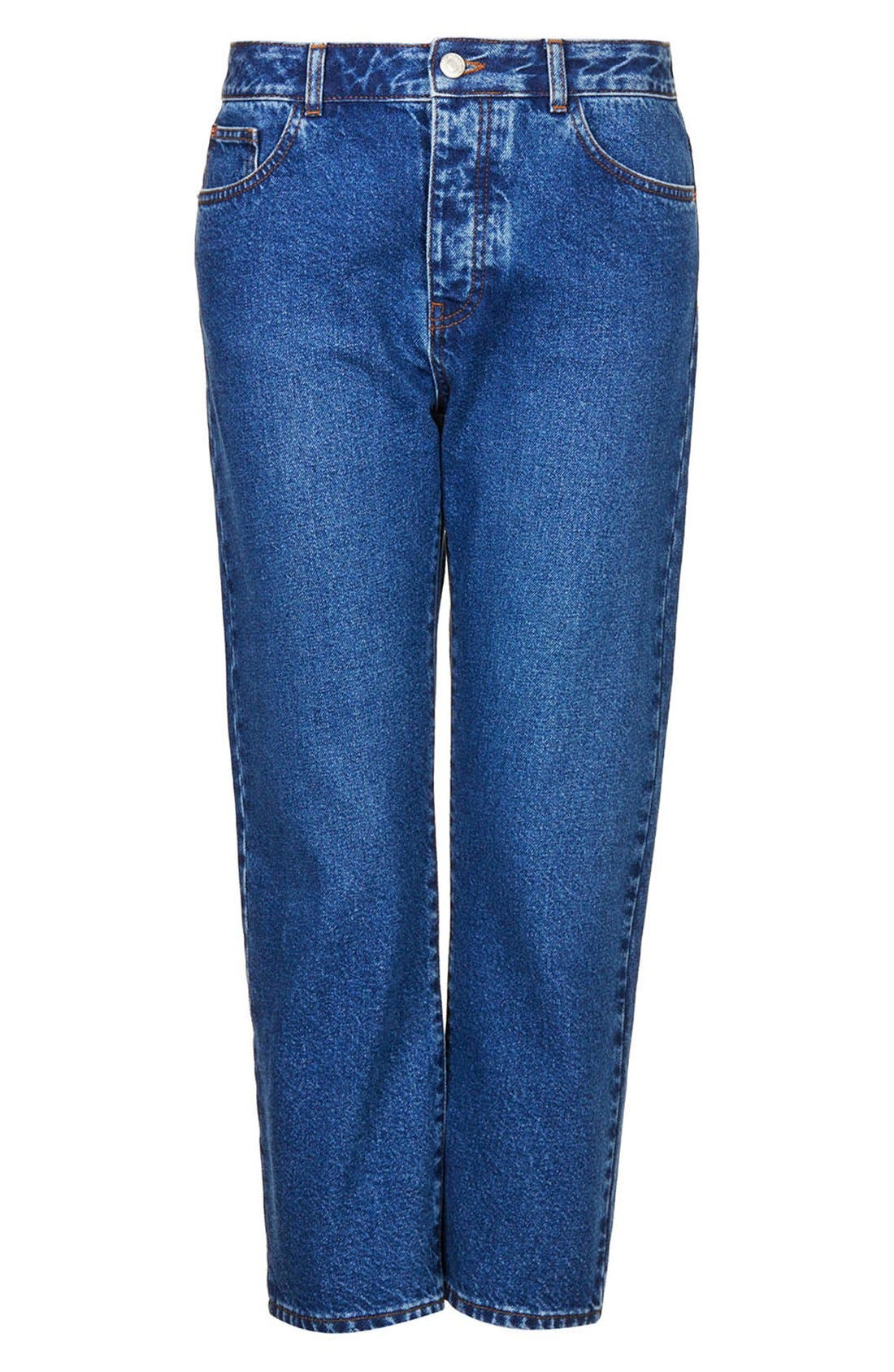 Alternate Image 3  - Topshop Moto Girlfriend Jeans (Blue)