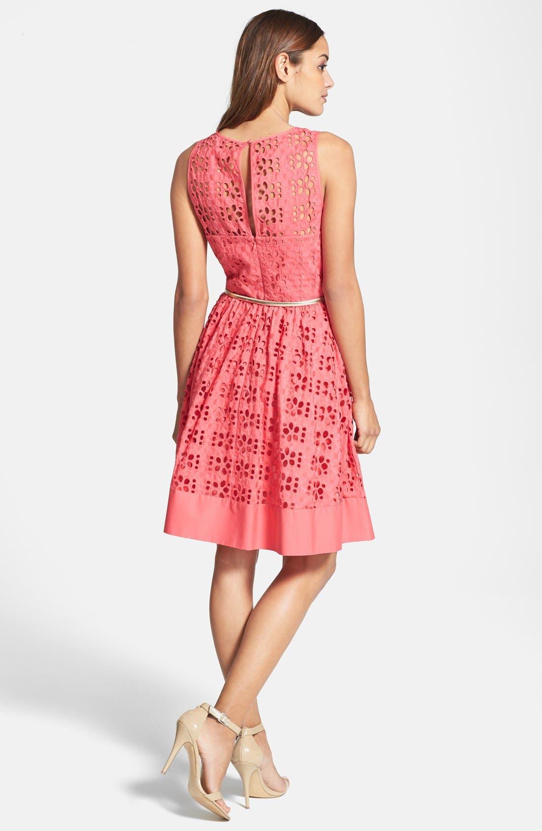 Alternate Image 3  - Eliza J Cotton Eyelet Belted Fit & Flare Dress (Regular & Petite)