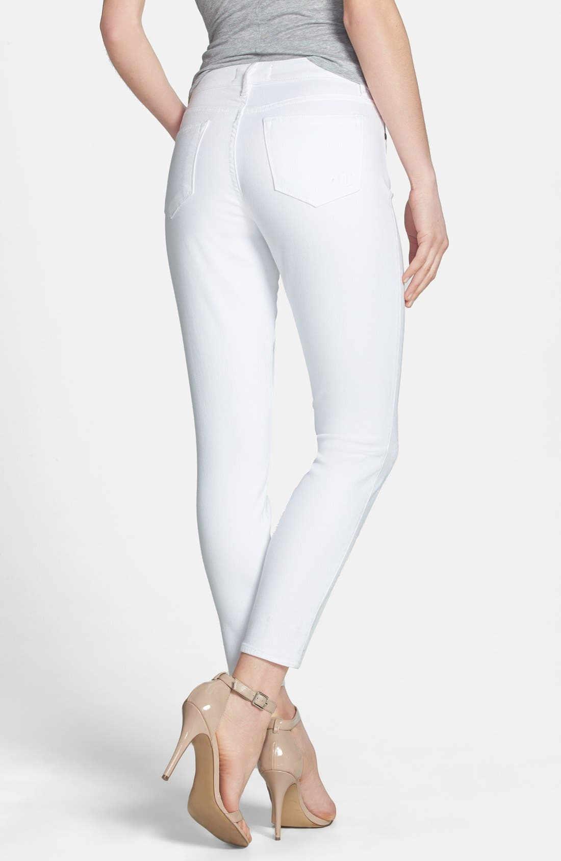 Alternate Image 2  - CJ by Cookie Johnson 'Wisdom' Eyelet Detail Ankle Skinny Jeans (Optic White)