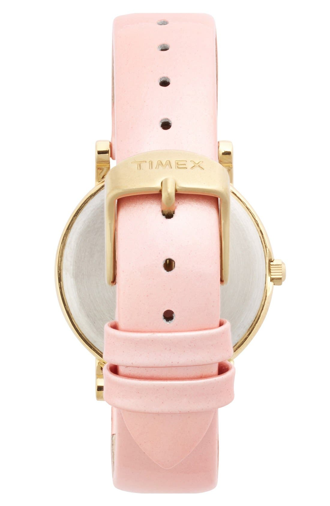 Alternate Image 2  - Timex® Round Patent Leather Strap Watch, 33mm