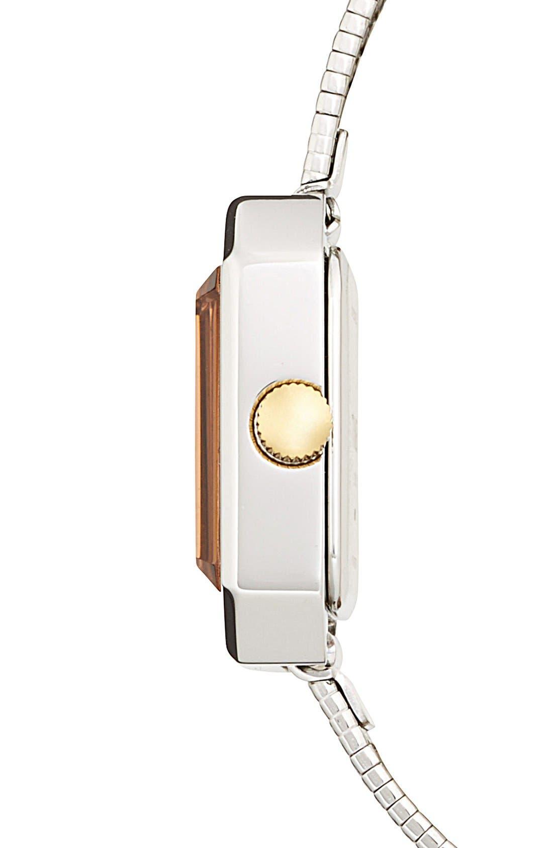 Alternate Image 3  - Timex® 'Starlight' Crystal Bezel Square Mesh Strap Watch, 25mm
