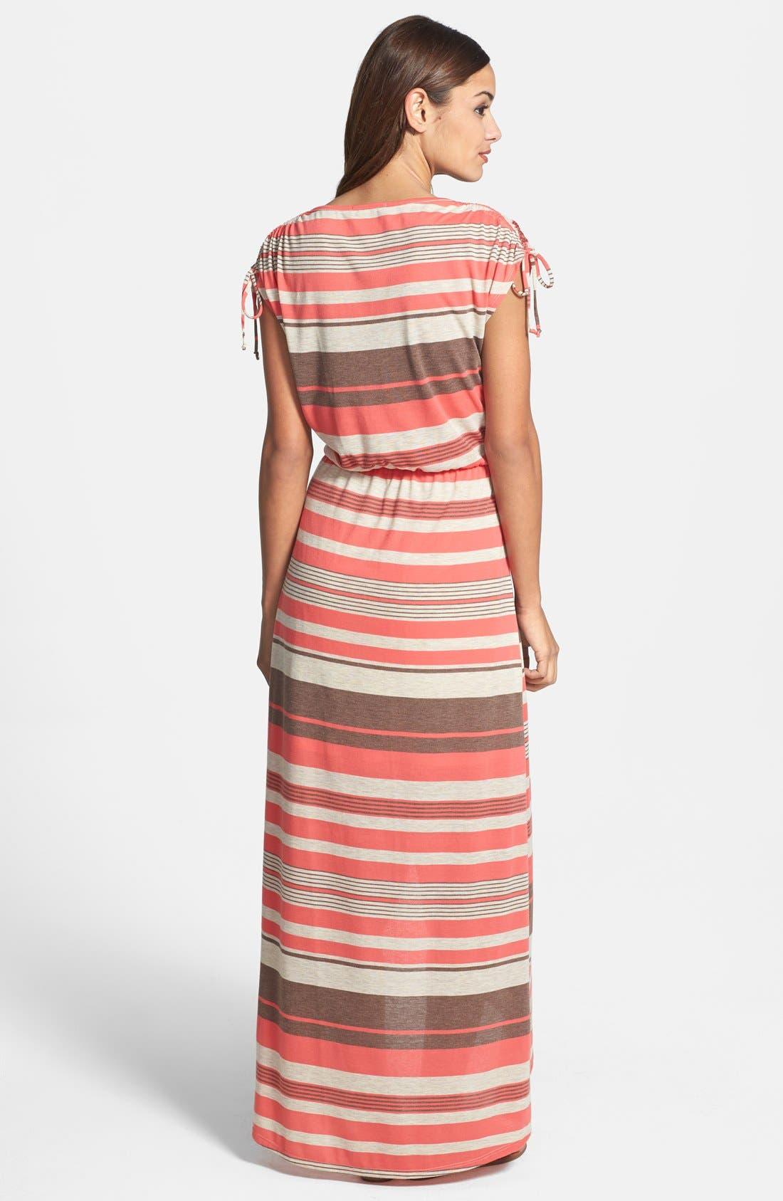 Alternate Image 2  - Loveappella Faux Wrap Stripe Maxi Dress