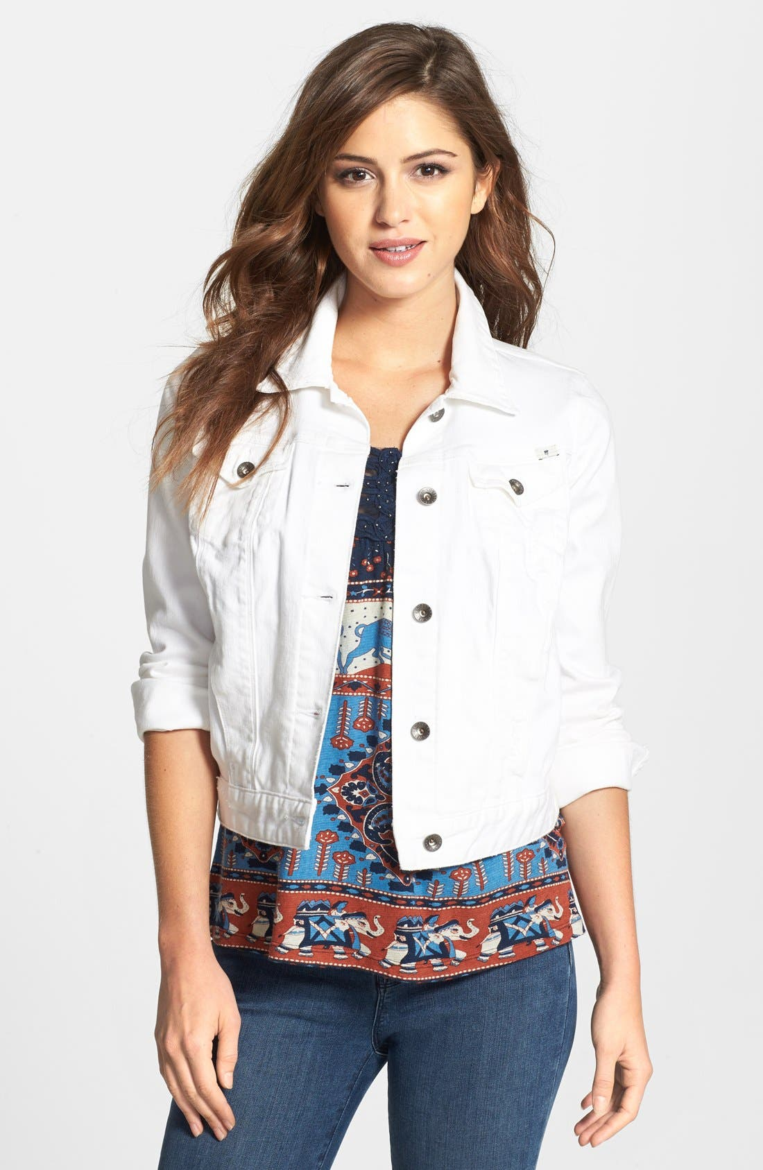 Main Image - Lucky Brand 'Dixie' White Denim Jacket