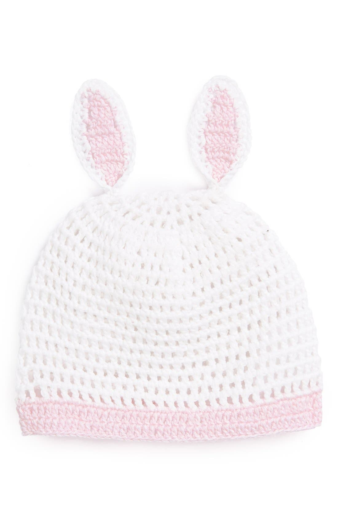 Main Image - Mud Pie 'Bunny' Crochet Hat (Baby Girls)