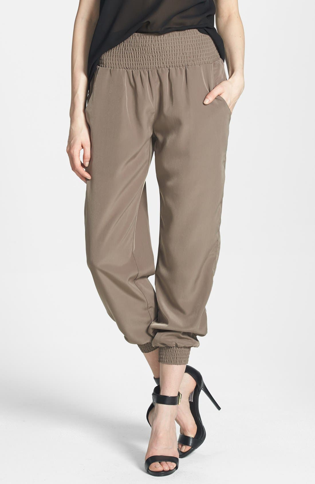 Alternate Image 1 Selected - RD Style Ruched Waist Track Pants