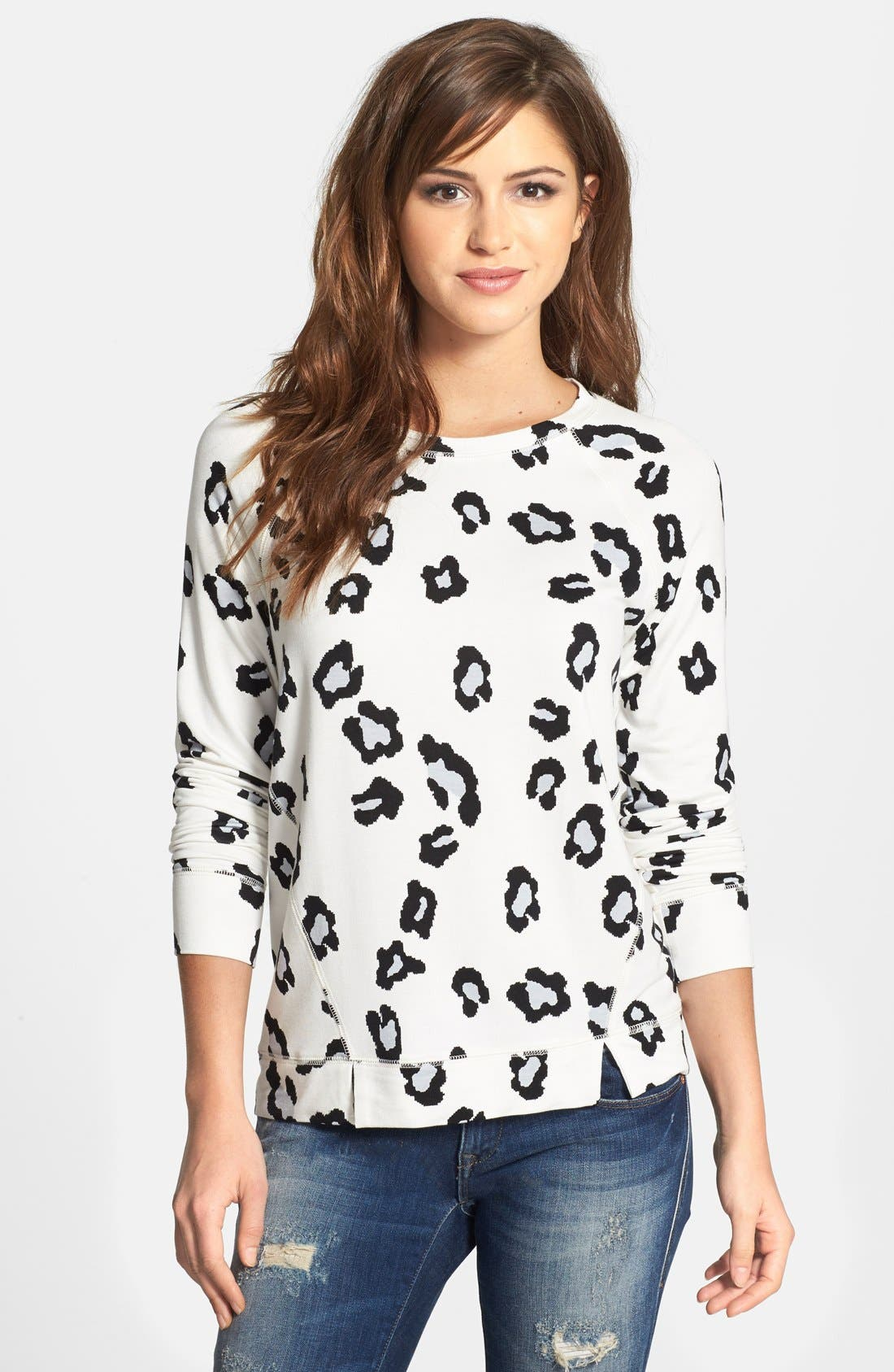 Animal Print Sweatshirt,                         Main,                         color, Eggshell Combo