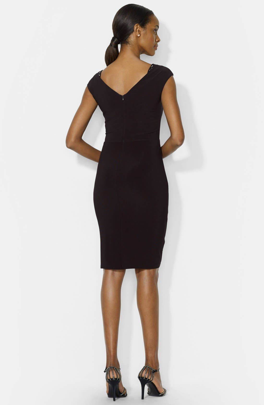 Alternate Image 2  - Lauren Ralph Lauren Embellished Cap Sleeve Jersey Sheath Dress