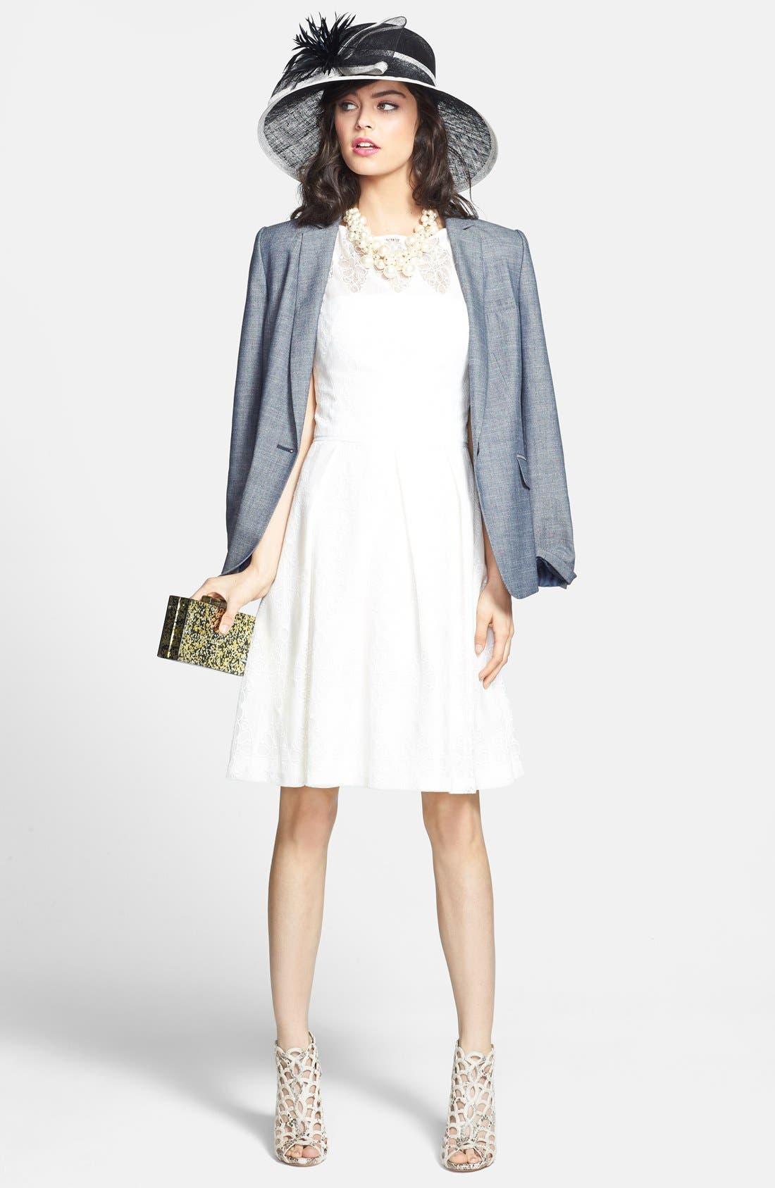 Alternate Image 4  - Halogen® 'Indigo Crosshatch' Single-Button Suit Jacket