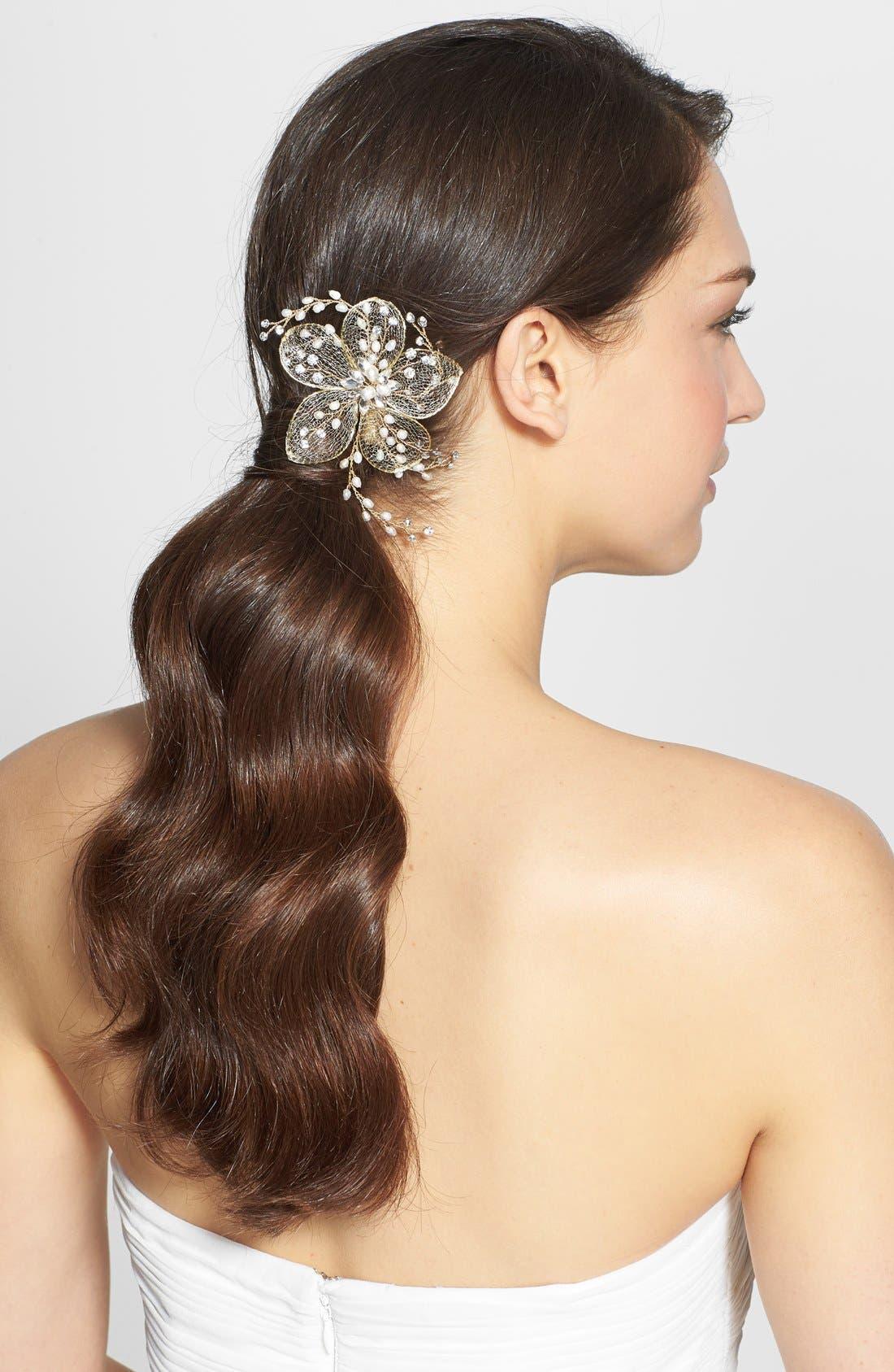 Main Image - Nina Flower & Freshwater Pearl Hair Clip