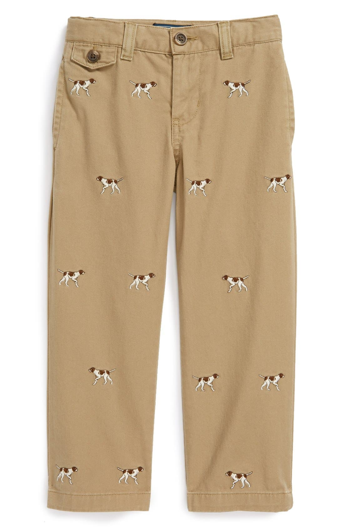 Alternate Image 1 Selected - Ralph Lauren Embroidered Straight Leg Pants (Toddler Boys)