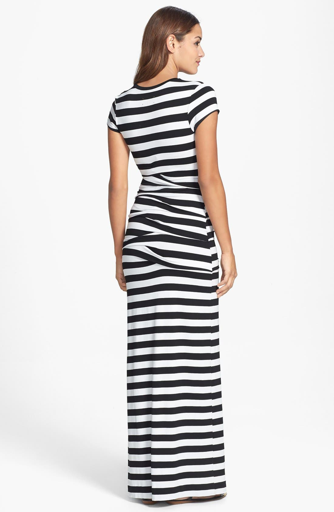 Alternate Image 2  - Nicole Miller 'Vanessa' Stripe Tidal Pleat Jersey Maxi Dress
