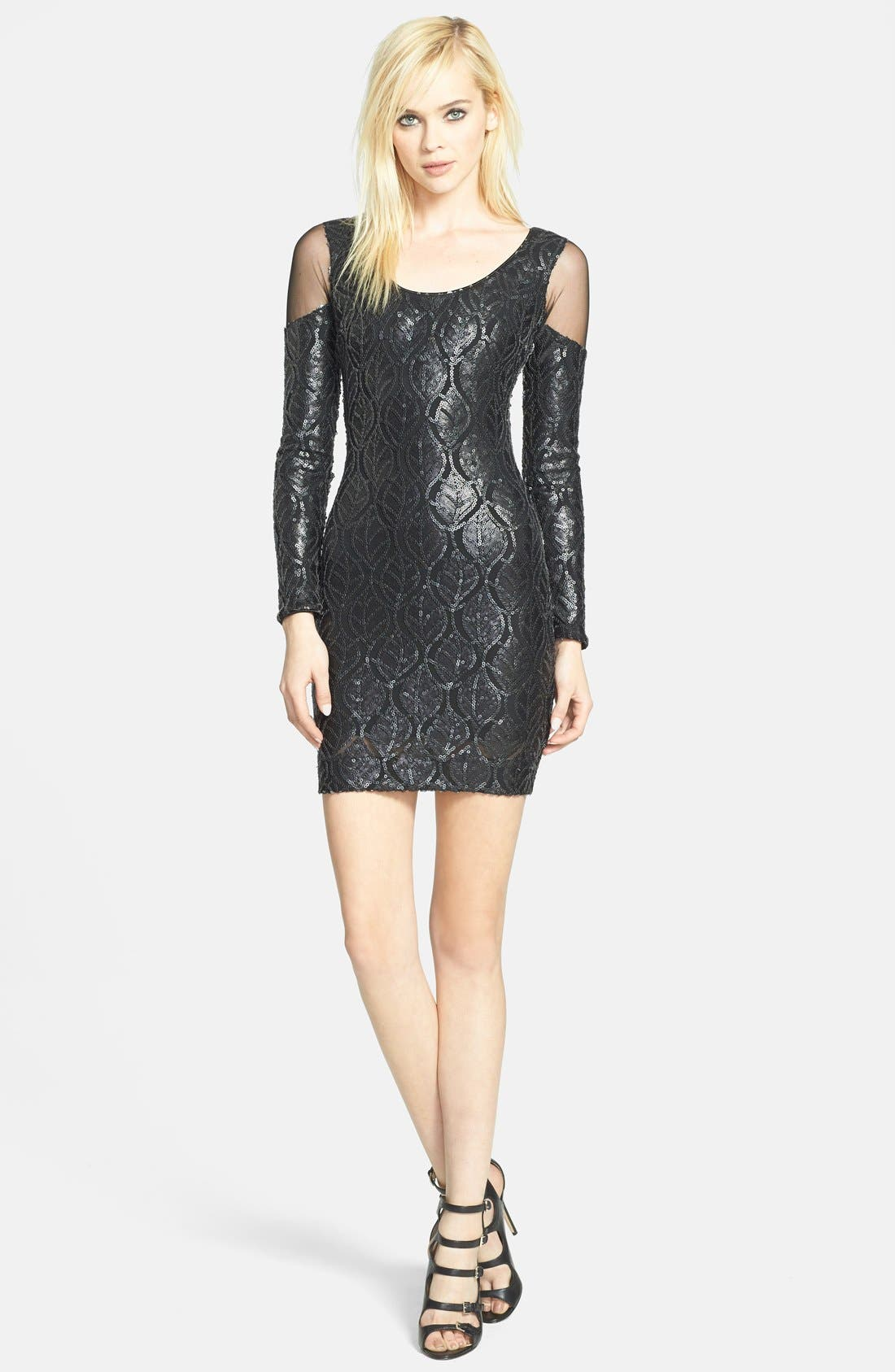 Alternate Image 3  - Dress the Population 'Jaden' Faux Leather Sequin Body-Con Dress