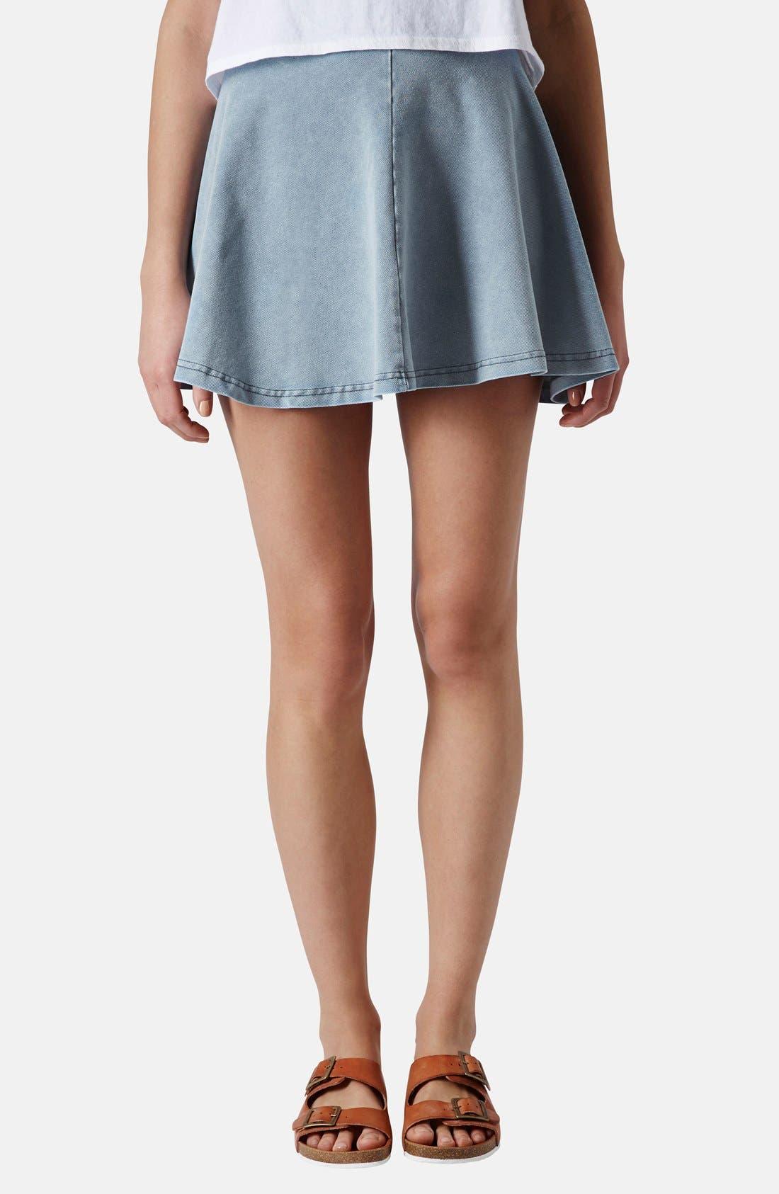 Main Image - Topshop 'Andie' Denim Skater Skirt (Petite)