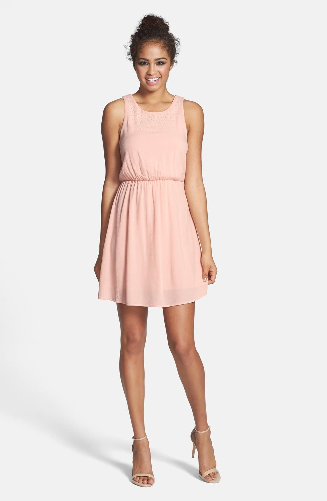 Alternate Image 1 Selected - Everly Embellished Party Dress (Juniors)