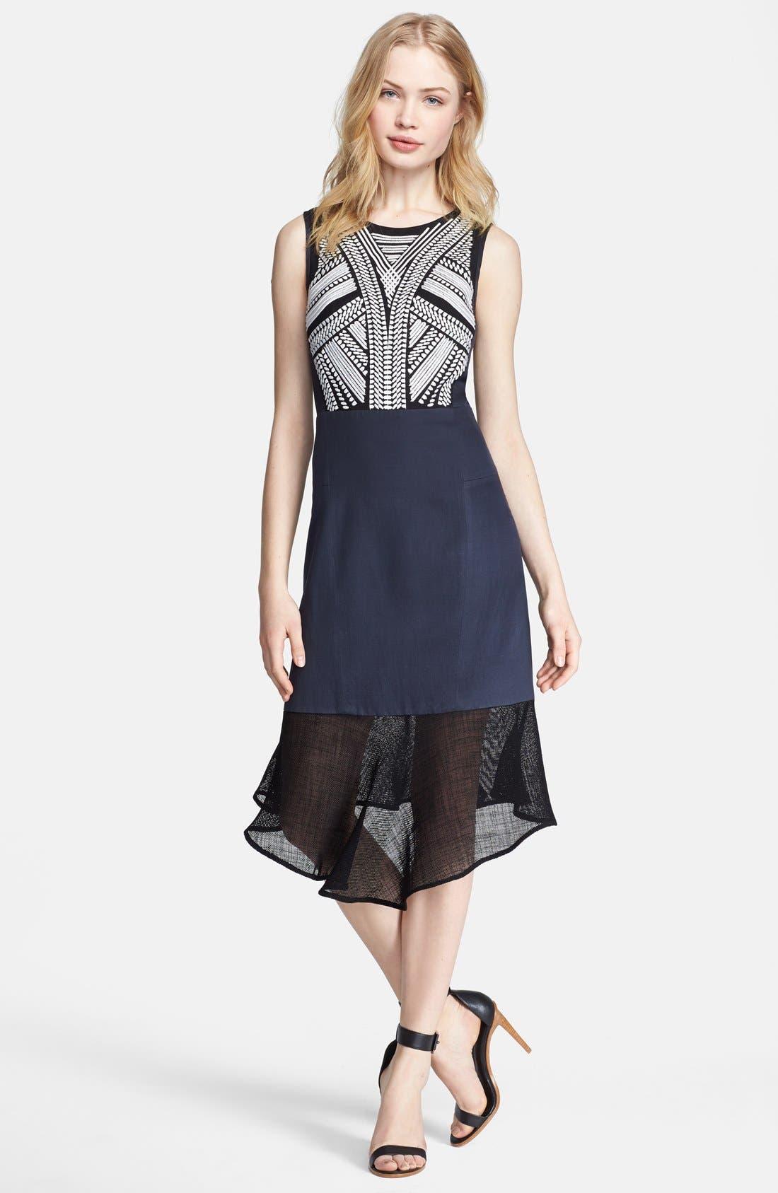 Main Image - Tibi 'Fog' Embroidered A-Line Dress