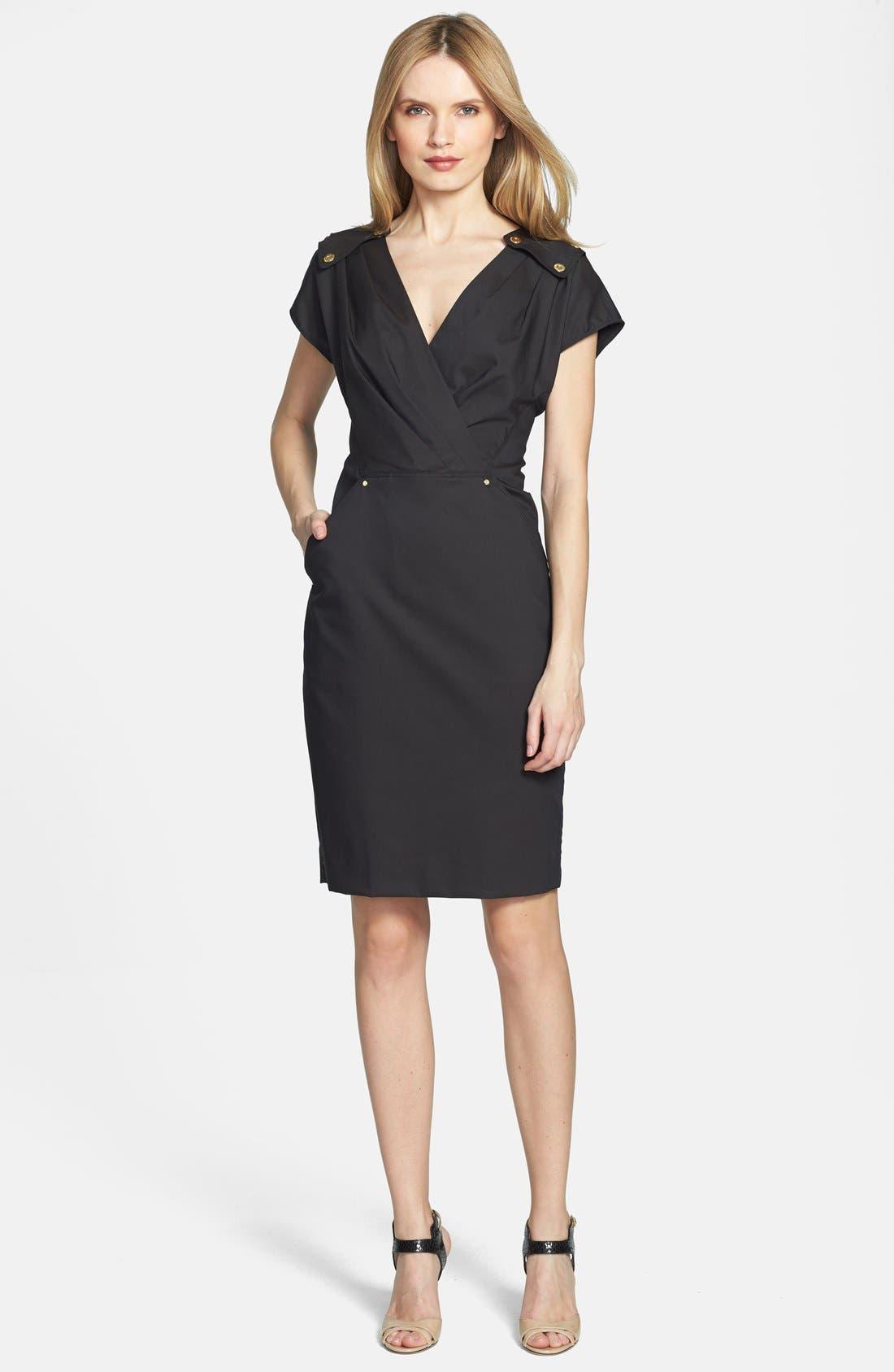 Alternate Image 1 Selected - Rachel Roy Studded Detail Wrap Front Stretch Cotton Dress