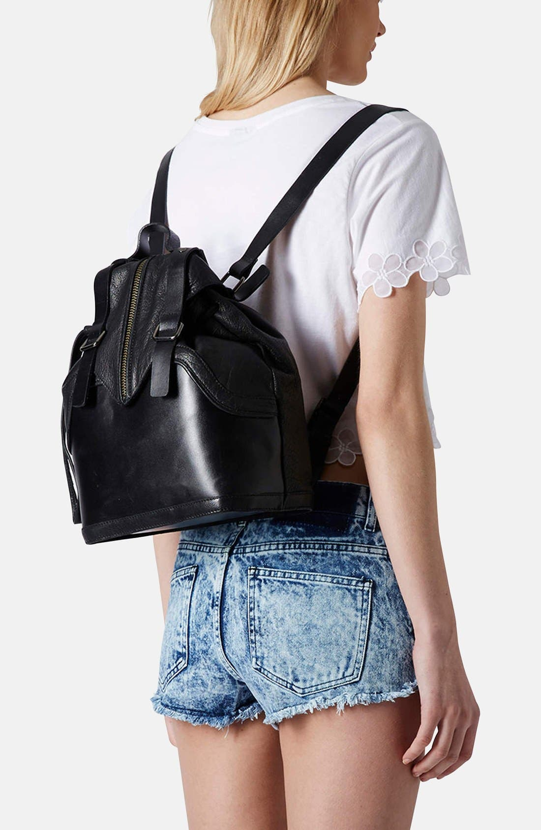 Alternate Image 2  - Topshop Buckled Leather Backpack