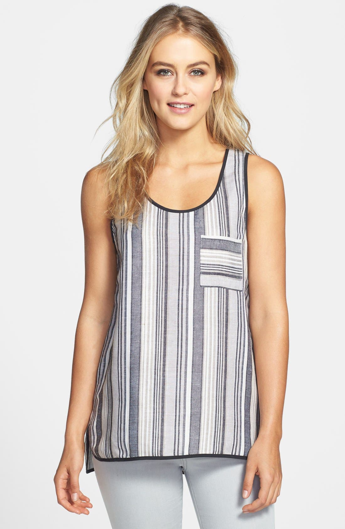 Main Image - Vince Camuto Stripe Linen Blend One Pocket Tank