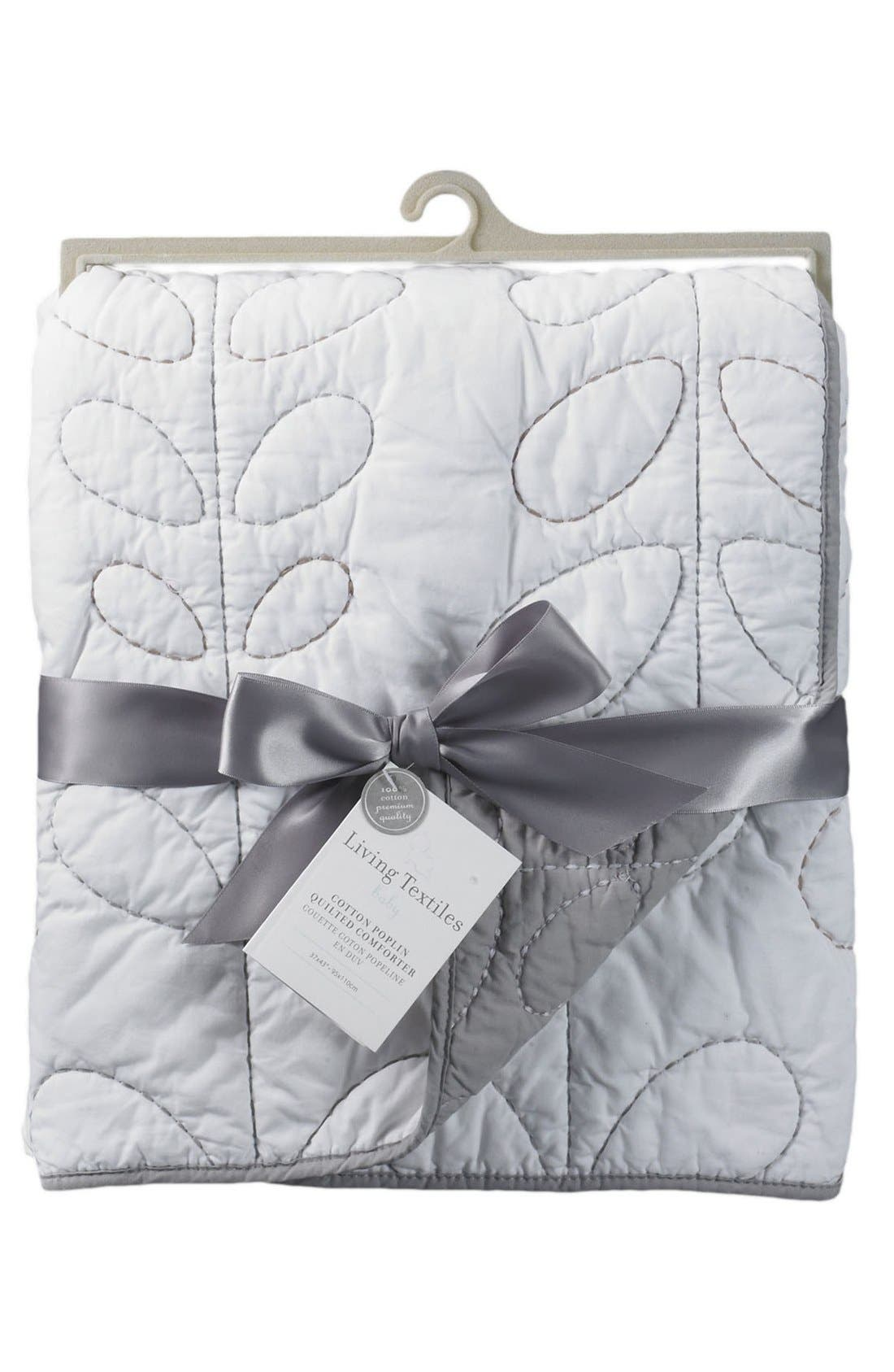 Poplin Quilted Comforter,                         Main,                         color, White/ Grey